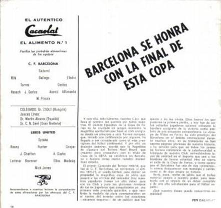 1972 Barcelona FC Barcelona1971-72 Inter-Cities Fairs Cup Playoff 22-9-71 Teamsheet