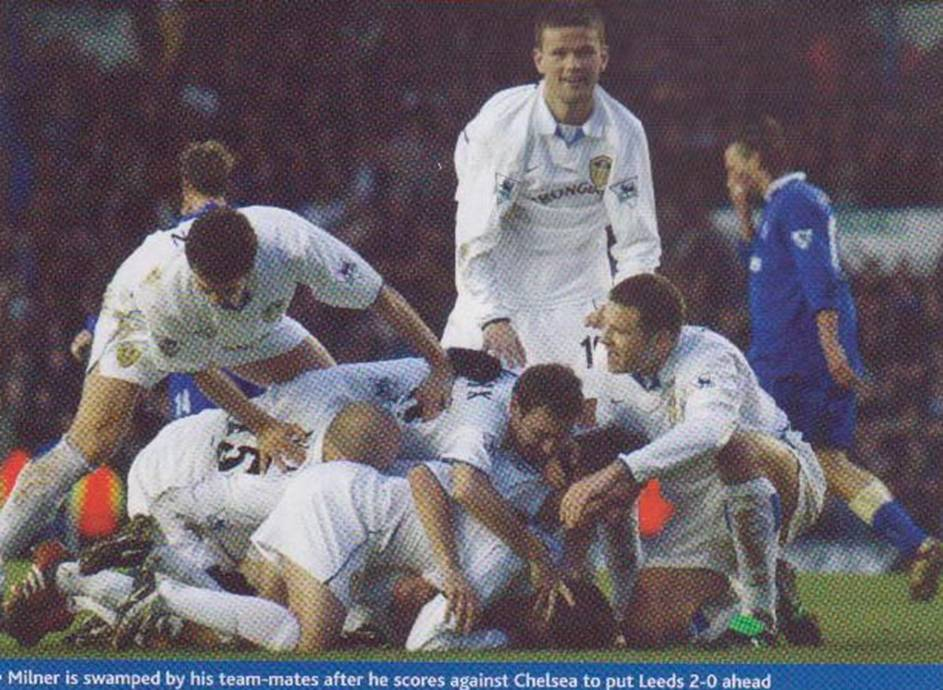 2003 Chelsea Leeds players celebrate Milner goal